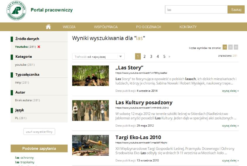 Wyszukiwarka Netsprint Search w intranecie Lasów Państwowych