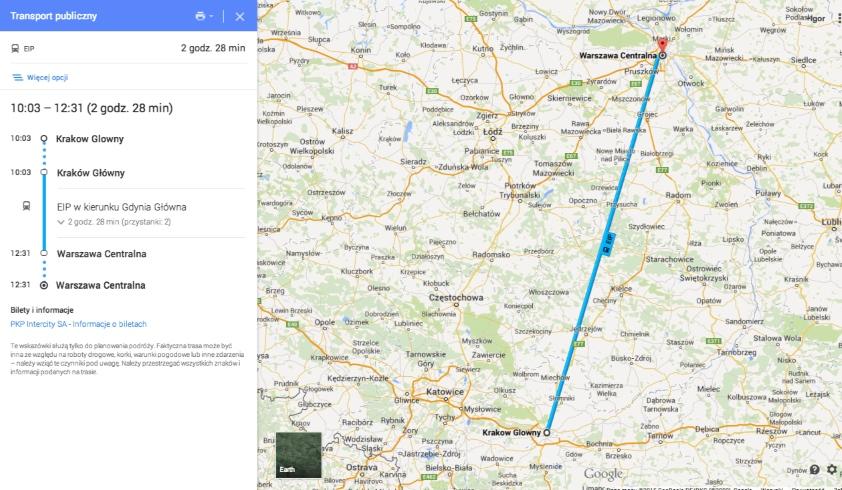 PKP Intercity Mapy Google,Transport publiczny na Mapach Google,rozkłady jazdy PKP Mapy Google