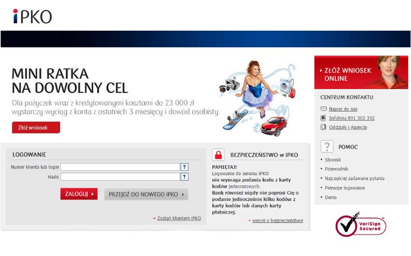 Atak phishingowy na użytkowników serwisu iPKO