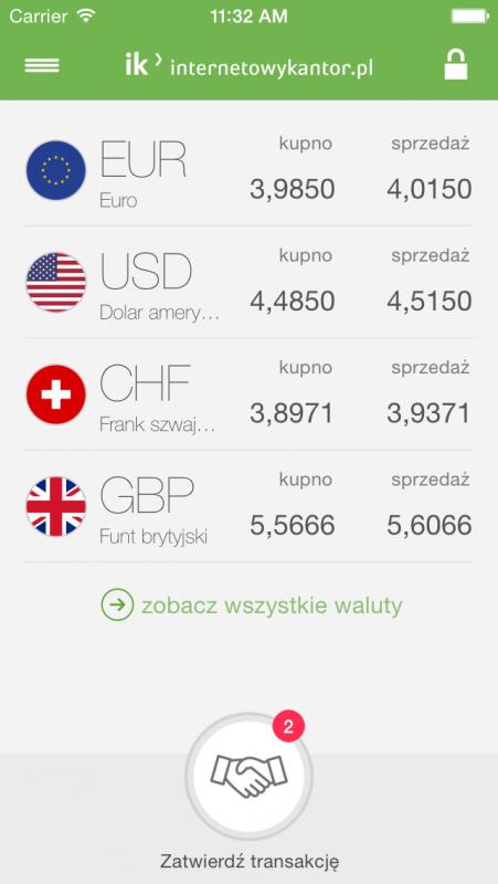 InternetowyKantor.pl z aplikacją walutową2
