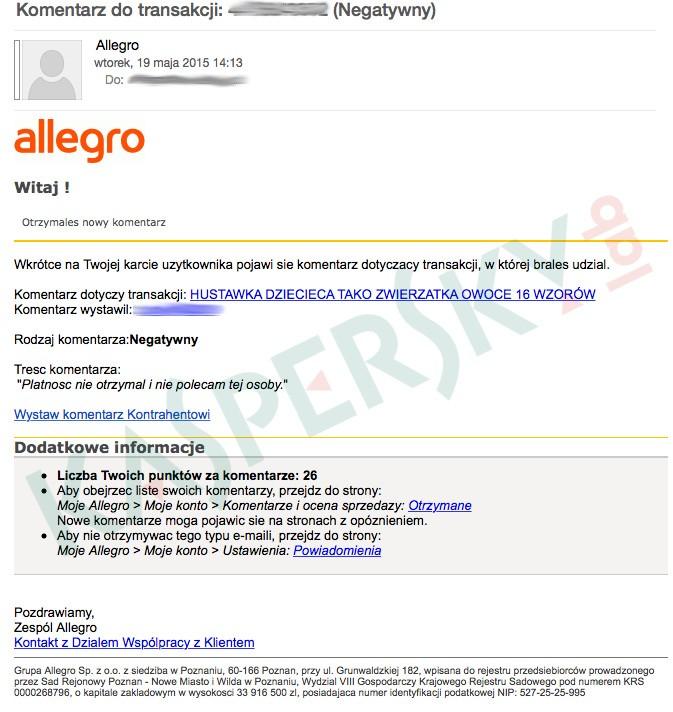 Atak na użytkowników Allegro