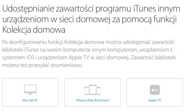 Udostępnianie zawartości programu iTunes innym urządzeniom w sieci domowej za pomocą funkcji Kolekcja domowa - Wsparcie Apple 2015-07-23 18-10-25