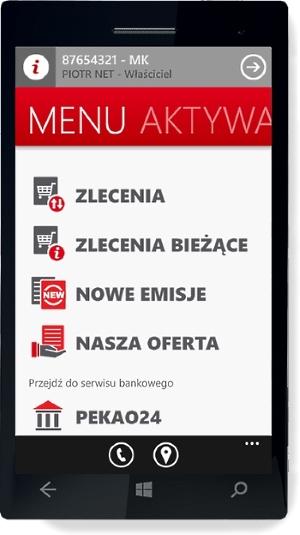 Aplikacja Pekao24 z modułem maklerskim na Windows Phone